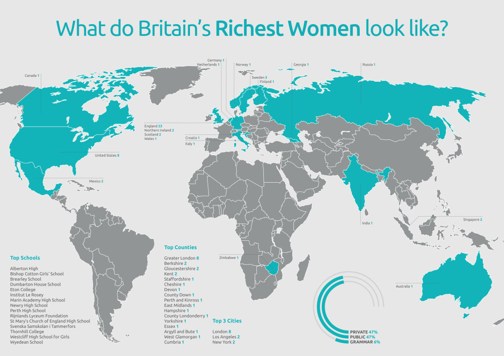 map showing the birthplaces of britain's richest women