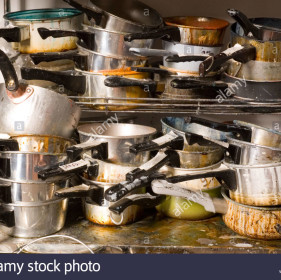 pots-and-pans-in-a-messy-stack-AH4R7F