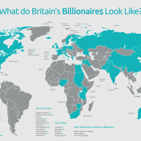 map of the world showing the birthplace of british billionaires